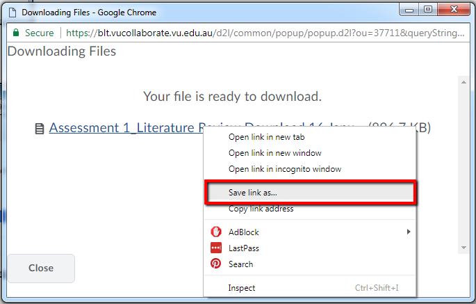 Downloading File - Save Link As