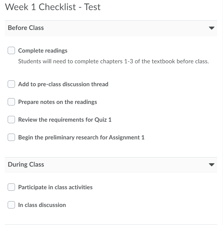 Creating a Checklist Student View