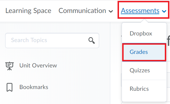 Within the desired VUC space, select Assessment then Grades
