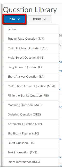 New button for creating new question in the questions library