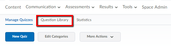 question library tab