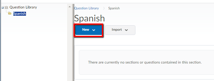 image of question library screen highlighting new button