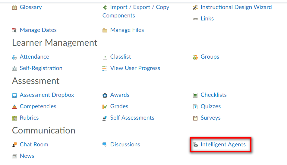 Under communication heading, Intelligent Agents button is highlighted