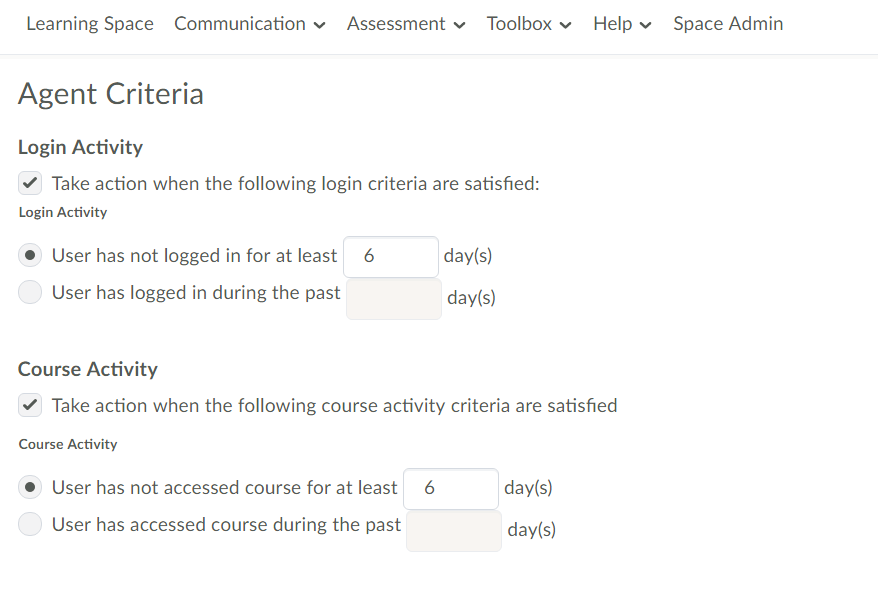 Agent Criteria Menu with options for login activity, course activity and release options