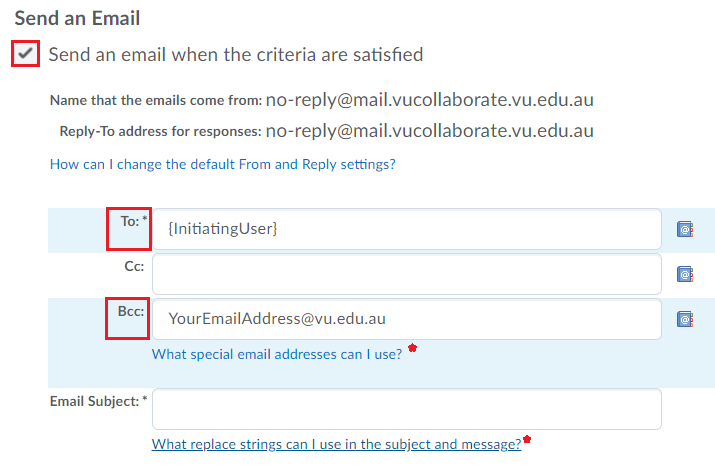 updated email settings
