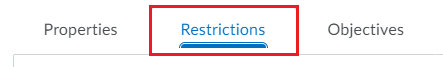 3 Restrictions tab