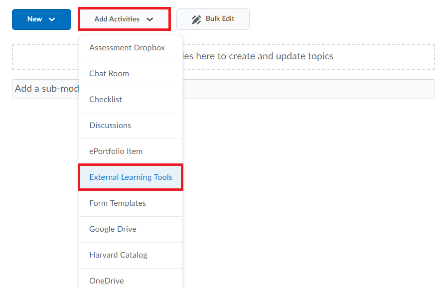 Add activities button selected followed by external learning tools