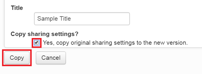 Tick box below copy sharing settings highlighted. Copy button at the bottom of the screen is also highlighted.