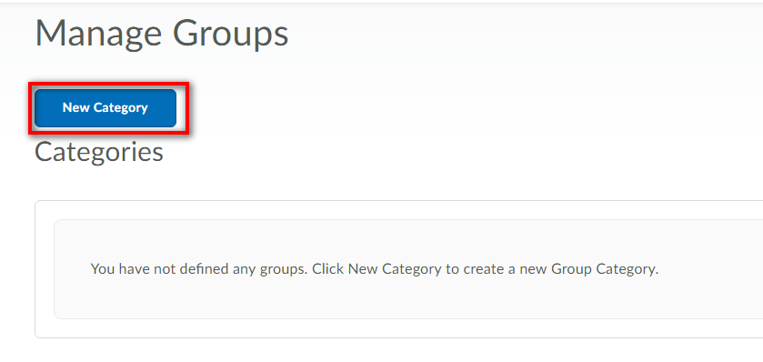 image of manage groups screen highlighting new category button