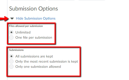 Submission options DL