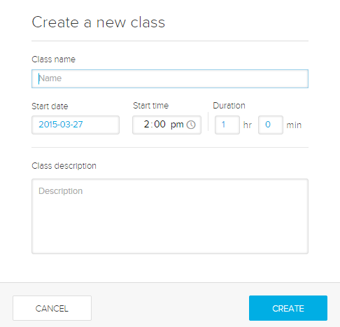 Create a new class dialog box as described