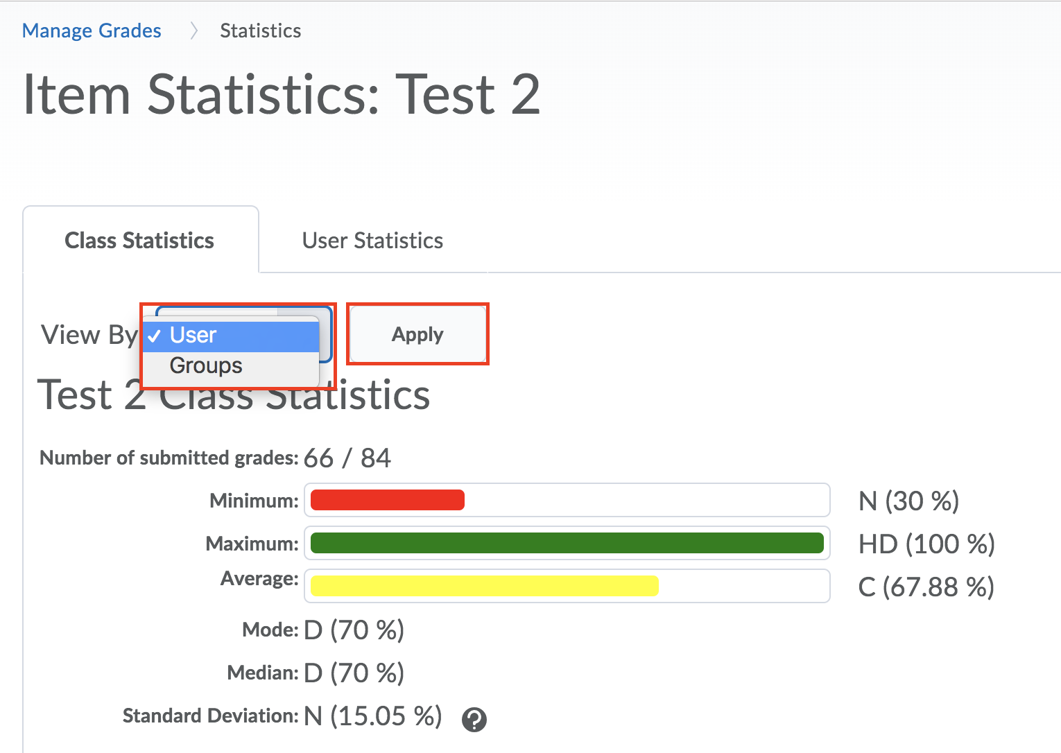 grade class stats user or group