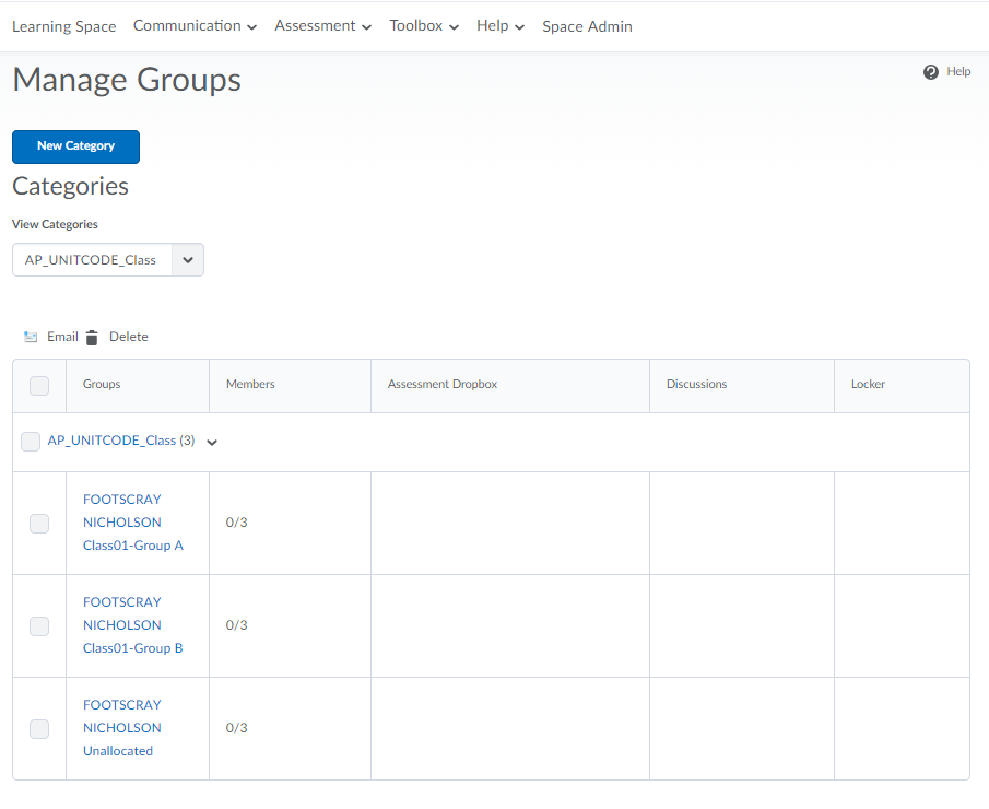 Manage Groups Page