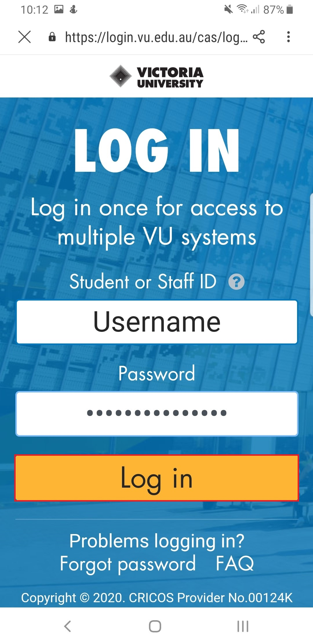 The VU Log In Page will appear enter your enumber and password then select Log in