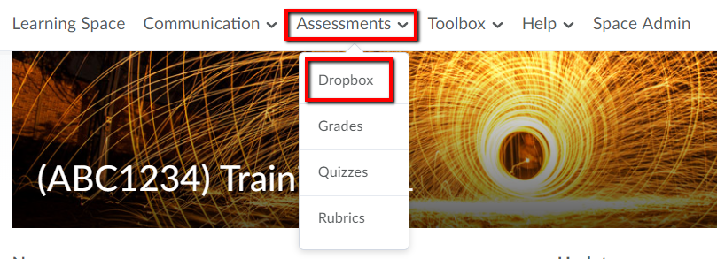 Dropbox from assessments on navigation bar