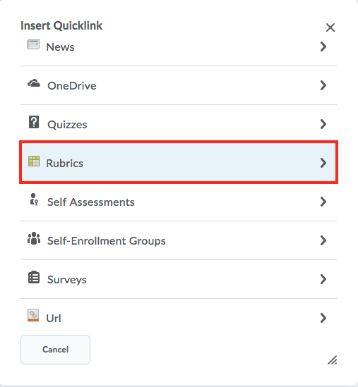 selecting the rubric quicklink