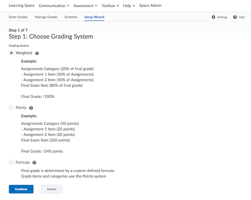 Grading system options