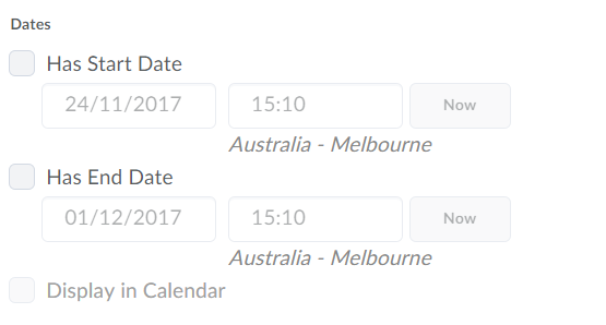 Start date and end date options