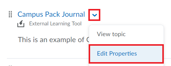 Drop down menu beside campus pack item is selected follow by edit properties