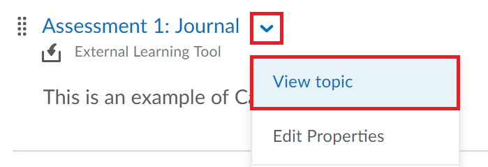 Campus pack item drop down menu is selected followed by edit topic