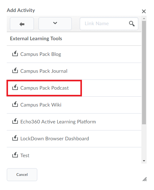 In the external learning tools screen, campus pack podcast is selected