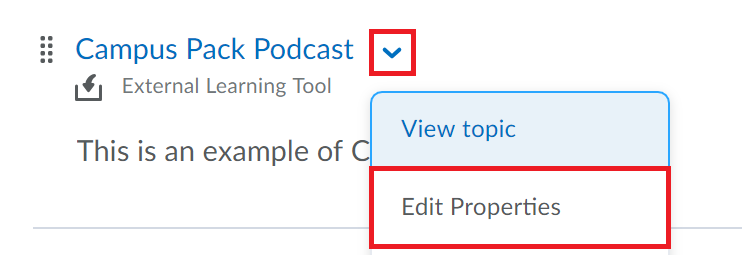Select the drop-down menu beside the campus pack item then select edit properties