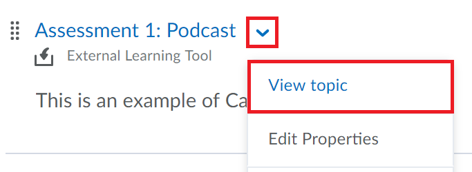 Click on the drop-down menu beside the campus pack item and select View Topic