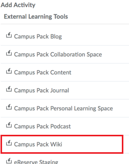 External Learning Tools screen with Campus Pack Wiki option selected