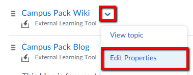 Click on the drop-down menu beside the Campus Pack Wiki and select Edit Properties