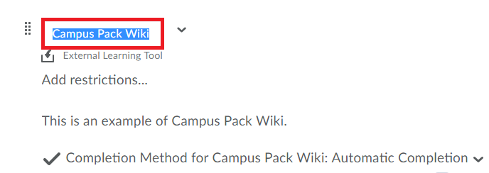 click on the title region of the item to alter the title of the Campus Pack Wiki