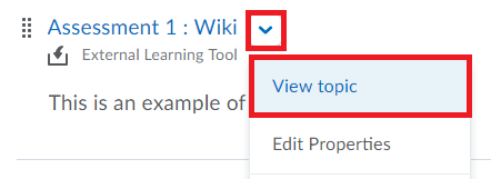 Select the drop-down menu beside the Campus Pack Wiki item and click on View Topic