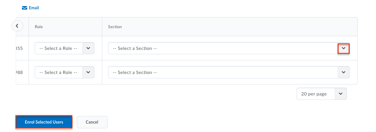enrolling users select a section drop down