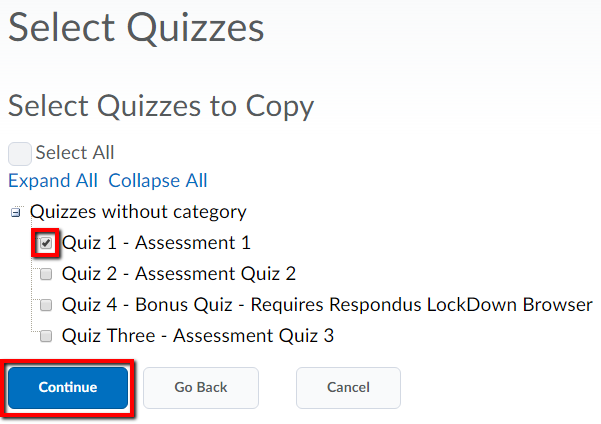 Image select individual quizzes screen highlighting a tick-mark in the side of one of the quizzes and a continue button