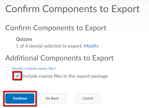 step05 confirm components to export