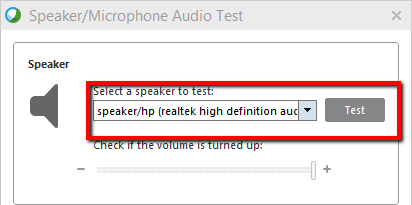 Speaker/Microphone Audio Test screen with Speaker region highlighted