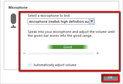 Speaker/Microphone Audio Test screen with Mic region and Automatically adjust volume highlighted