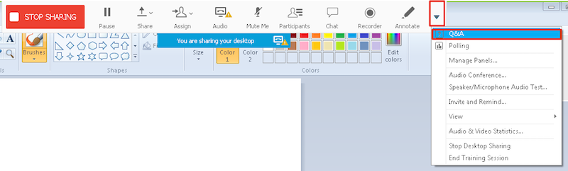 WebEx toolbar with drop-down menu selected and Q&A option highlighted