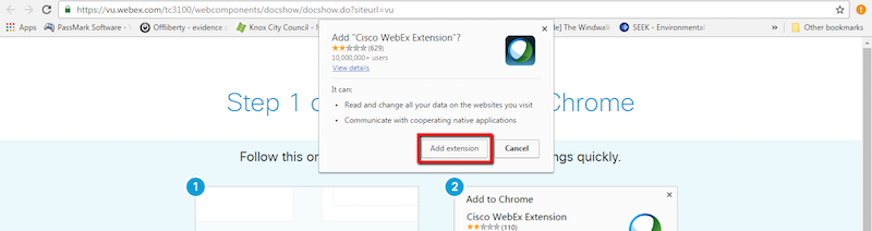 A pop-up window of Add CisCo WebEx Extension is shown with Add Extension button highlighted