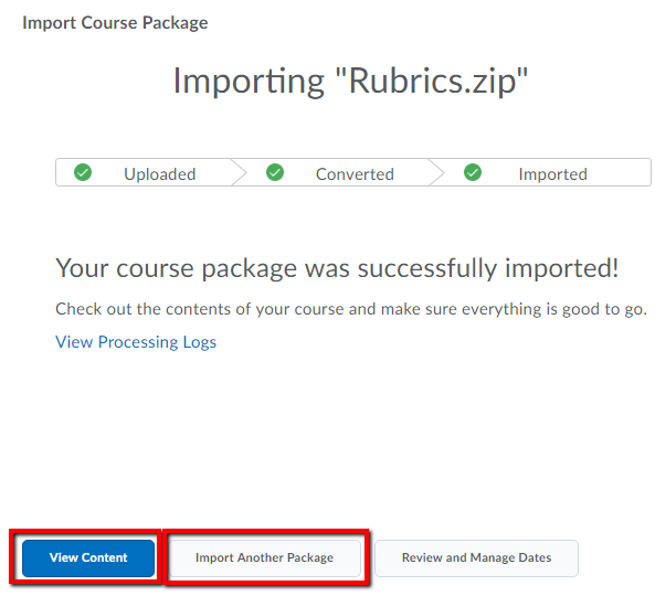 Import Course Package