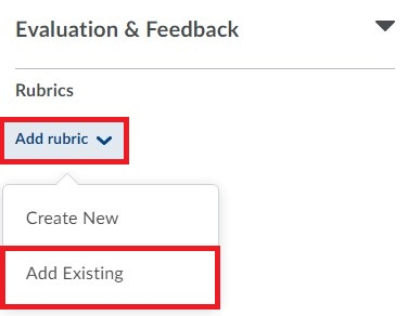New Dropbox Layout Select Add rubric to either select a rubric from your collection or create a new one to attach