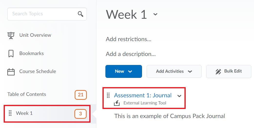 Within the desired module, the campus pack journal item's title is selected