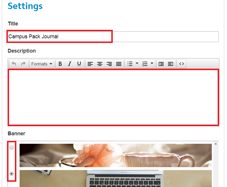 Within the campus pack journal settings screen, highlighting Title, description and banner selections sections.