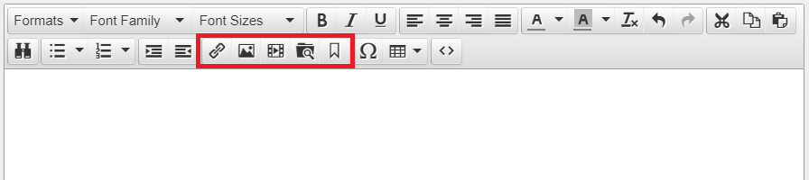 the toolbar in between the title and body text fields in a new entry is highlighted. There are icons for a link, image, video, file search and bookmark in this section of the toolbar.