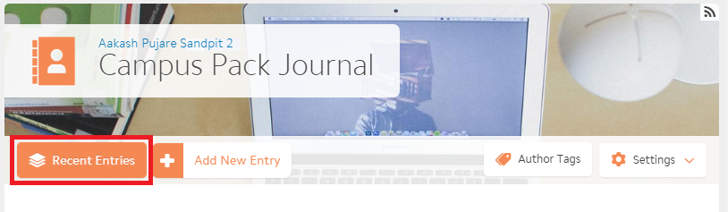 the main navbar of the journal screen with recent entries highlighted on the far left