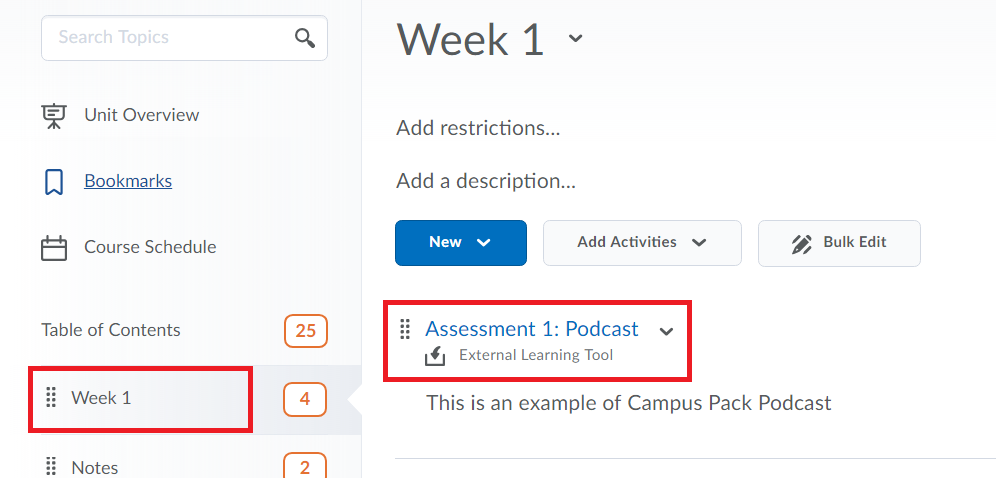 Find the created campus pack podcast located in one of your modules