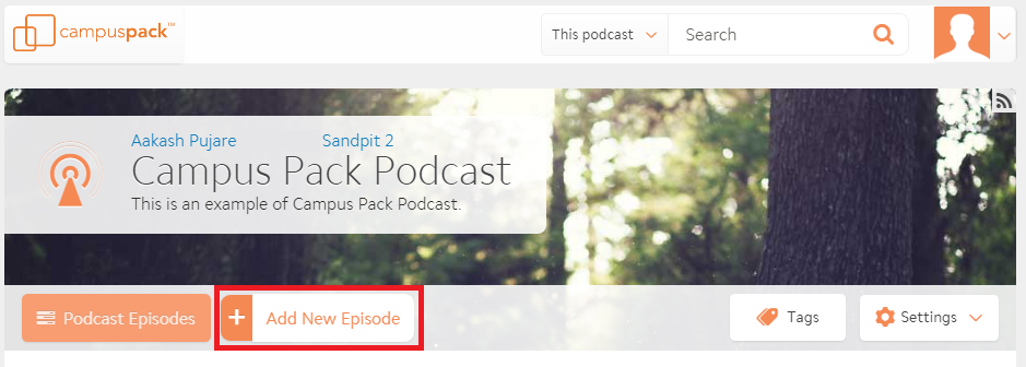 New episode button highlighted in podcast main screen