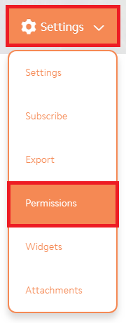 Settings drop-down with 'permissions' option highlighted