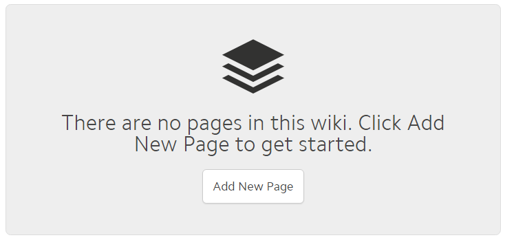 the main wiki content area. Text reads: There are no new pages in this wiki. Click Add New Page to get started. A button underneath the text reads Add New Page