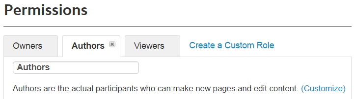 The Permissions area with the Authors tab selected. Text under the selected tab reads: Authors are the actual participants who can make new pages and edit content, plus a clickable link in parantheses (Customize)