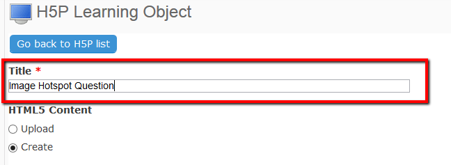 The title field highlighted with a sample title for the object entered